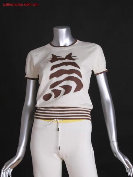 Fitted FF-intarsia short-sleeved pullover / Taillierter FF-Intarsia Kurzarmpullover