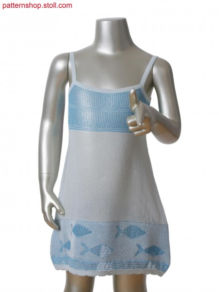 Fully Fashion dress with scallop edge in 2-color relief jacquard