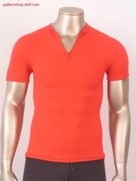 T-shirt with inserted sleeves and vented neckline / T-Shirt mit eingesetzten