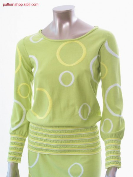 FF-Intarsia-plush pullover with inserted sleeves / FF-Intarsia-Pl
