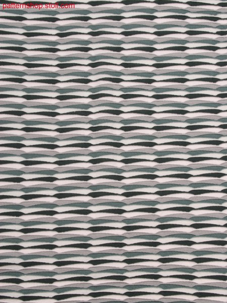 Swatch with horizontal stripes in gore-look, created by float jacquard with holding stitches and stepped wave structure