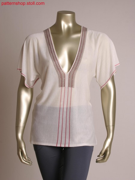 Fully Fashion blouse, neckline with 2 colour relief jacquard and gore technique, knitted norizontally