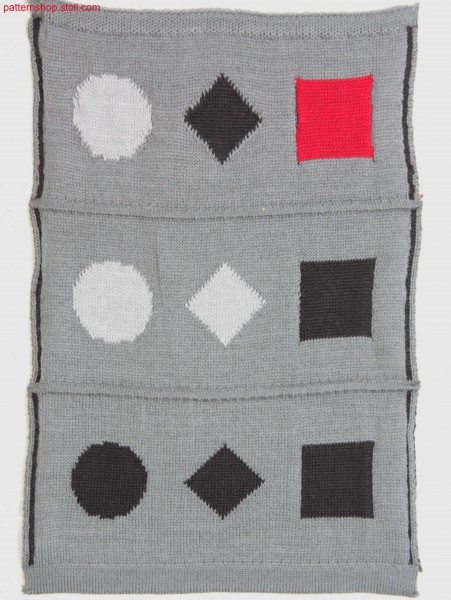 Multi-coloured jacquard fabric with 1x2 net back / Mehrfarbiges Jacquardgestrick mit 1x2 Netzr