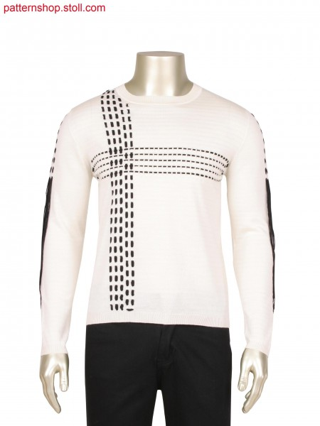 Fully Fashion pullover in alternate stripes,Stoll-applications&reg, interlock, pointelle and goring technique