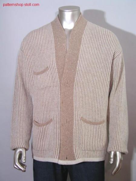 FF-Intarsia cardigan in half cardigan / FF-Intarsia Perlfang Strickjacke
