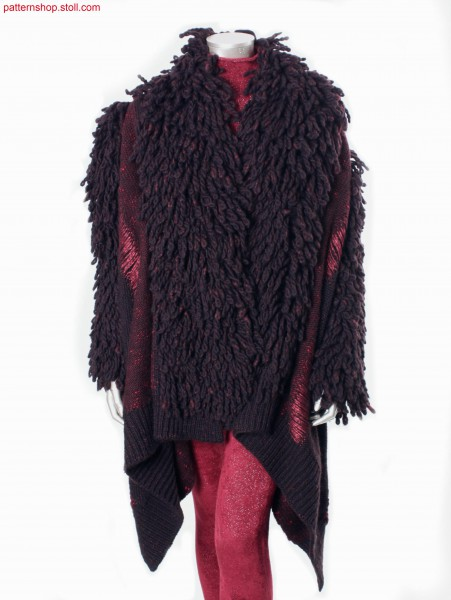 Coat with intarsia body part with floats and fringes / Mantel mit Intarsia-Leibteil mit Flottf