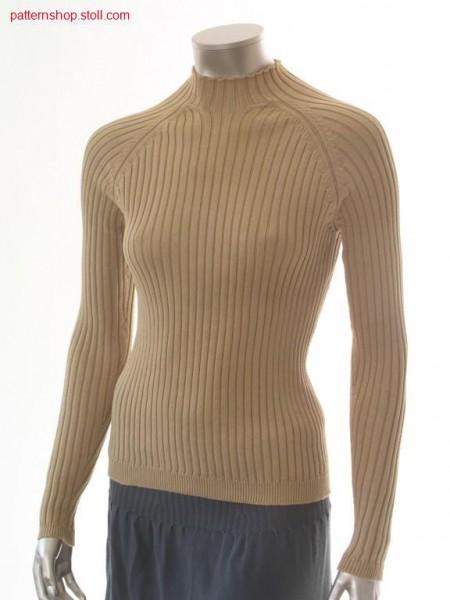 Raglan pullover in 4x2 rib with crew neck / Raglanpullover in 4x2 Rippe mit Rundhals
