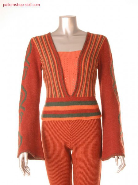 Ringed Fully Fashion-Intarsia pullover / Geringelter Fully Fashion-Intarsia Pullover
