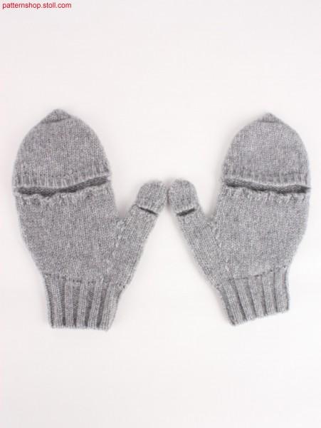Seamless pair of fingerless jersey gloves / Nahtloses Paar fingerlose Rechts-Links Handschuhe