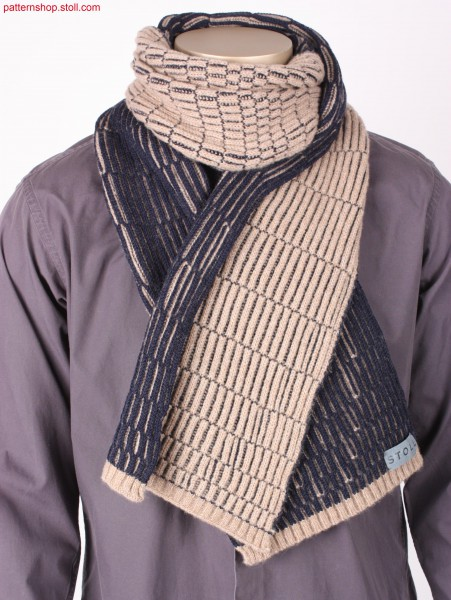 Scarf in 2-colour 2x2-rib cardigan structure / Schal in 2-farbiger 2x2-Ripp Fangstruktur