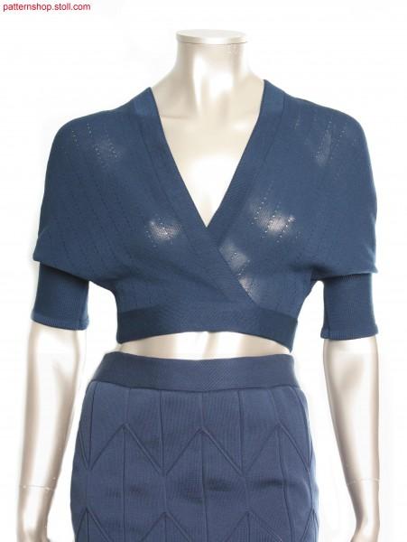 Short-sleeved jersey wrap-around cardigan / Kurz