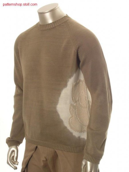 Jersey raglan pullover in tie-dye-technique / Rechts-Links Raglanpullover in Bandana-Technik