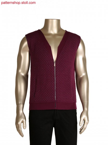 Fully fashion reversible waistcoat in layer technique, 3 layers and inlay yarn for pattern, integrated collar and pocket