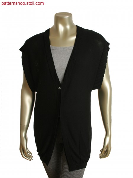 Fully Fashion sleeveless cardigan with horizontally knitted in one piece and pointelle at the back