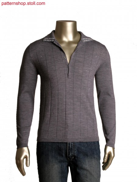 Fully Fashion polo neck pullover with wrapped float details, integral tubular placket with button holes