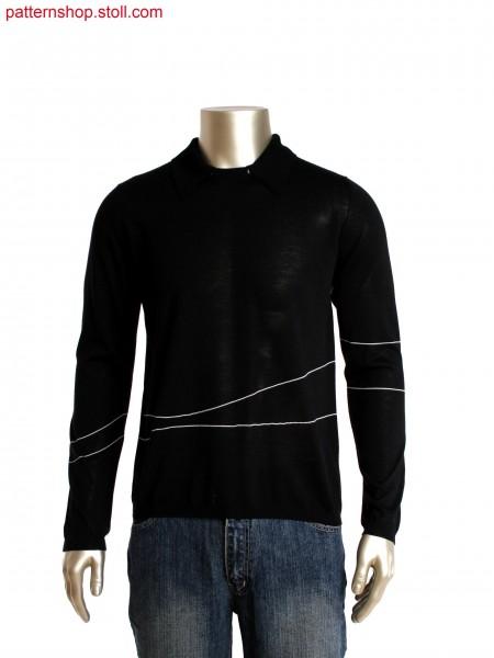 Fully Fashion round neck pullover with detachable 2x2 rib polo collar, stripes in gore technique