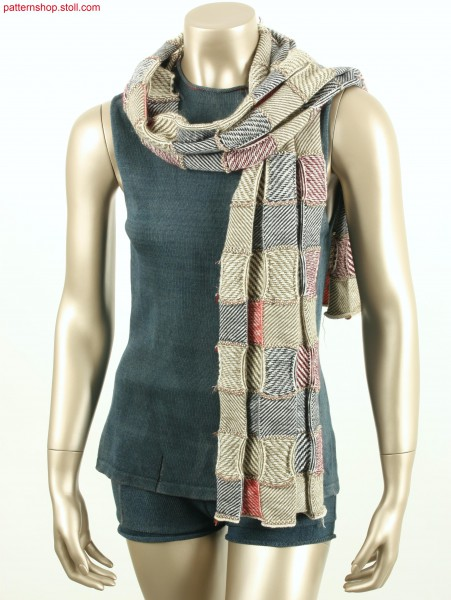 Checked scarf with woven-like equal twill / Karoschal mit web