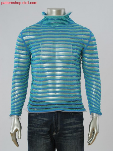 Stoll-applications&reg Fully Fashion 3-color striped pullover with monofilament yarn