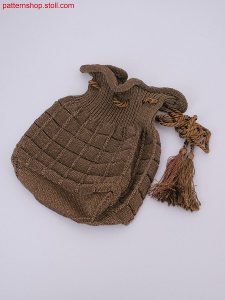 Bag in Stoll-knit and wear&reg technique with single jersey square optic and bag bottom linked