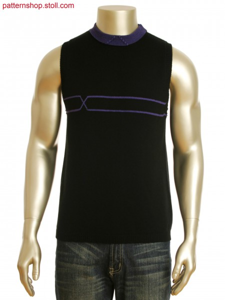 Fully Fashion sleeveless pullover with horizontally knitted intarsia loop stitch and collar in stripe intarsia