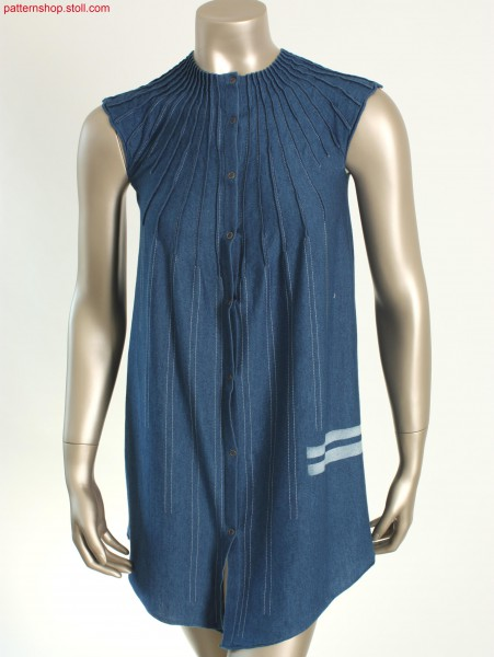 Fully Fashion jersey denim dress with wing sleeves / FullyFashion Rechts-Links Kleid in Jeansoptik mit Fl