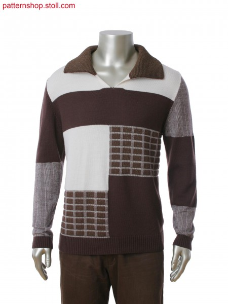 Fully Fashion pullover with shirt collar in 4 color jacquardstructure and intarsia