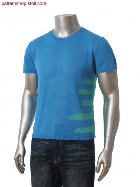Stoll-multi gauges&reg Fully Fashion T-shirt in 2-color intarsia