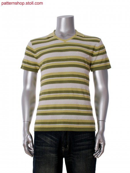 Fully Fashion T-shirt with fake pocket flap and 3-color stripes in multi structure