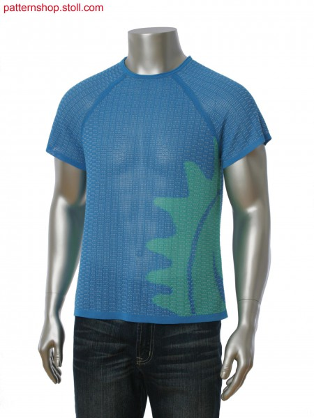 Fully Fashion intarsia T-shirt with fancy structure