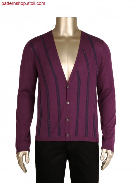 Fully Fashion cardigan with french shoulder, intarsia stripe in alternate knitting with float connection
