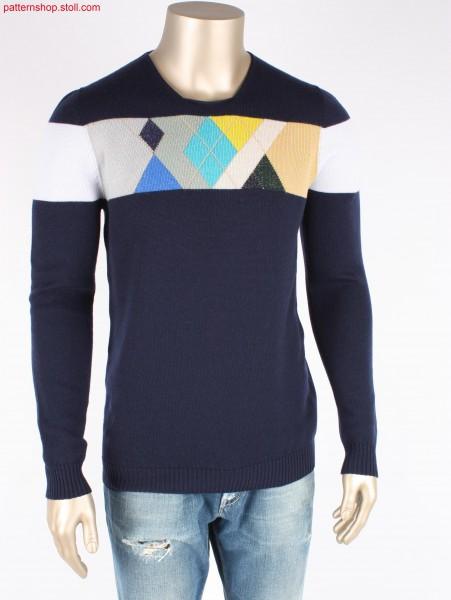 Crew-neck jersey pullover with French shoulder / Rechts-Links Rundhalspullover mit französischer Schulter