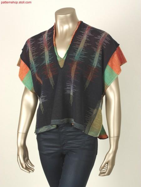 2-layer poncho with multicolour stripe structure / Poncho mit 2-Lagen mit mehrfarbigem Streifenmotiv