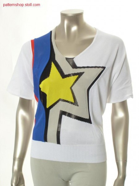 FF-short-sleeved pullover with five-pointed intarsia star / FF-Kurzarmpullover mit f