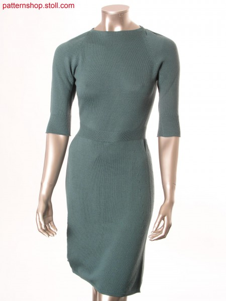 Jersey dress with box-pleats on sleeve shoulder / Rechts-Links Kleid mit Kellerfalten als Schulterraffung