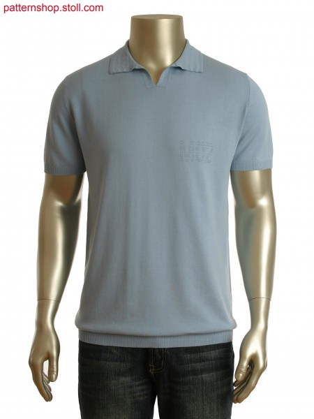 Fully Fashion Polo-Shirt in different stitch length with holding stitch motif. Collar in twisted effect structure.