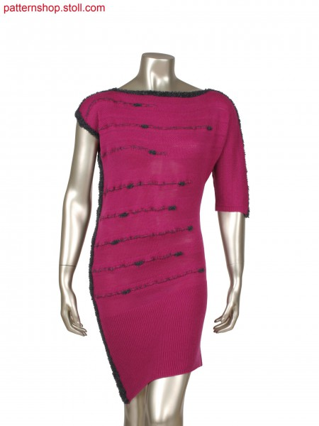 Fully Fashion asymmetric dress with gore technique and holding stitch lines