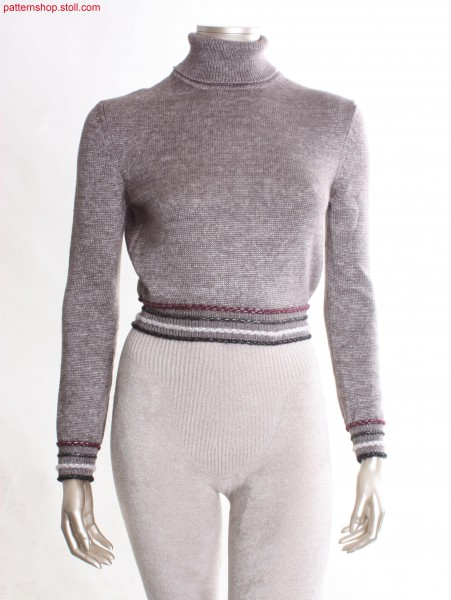 Short Fully Fashion jersey turtle-neck pullover / Kurzer Fully Fashion Rechts-Links Rollkragenpullover