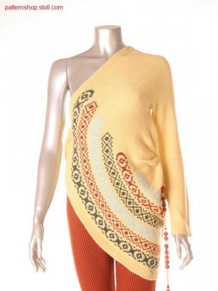 Asymmetric cape in 2-colour float intarsia-jacquard / Asymmetrischer Umhang in 2-farbigem Intarsia Flottjacquard