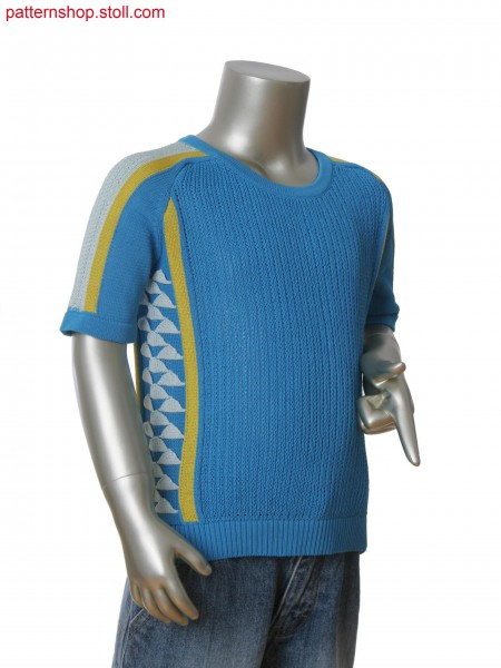 Fully Fashion 3-color intarsia pullover. Stoll-applications&reg on side flaps.