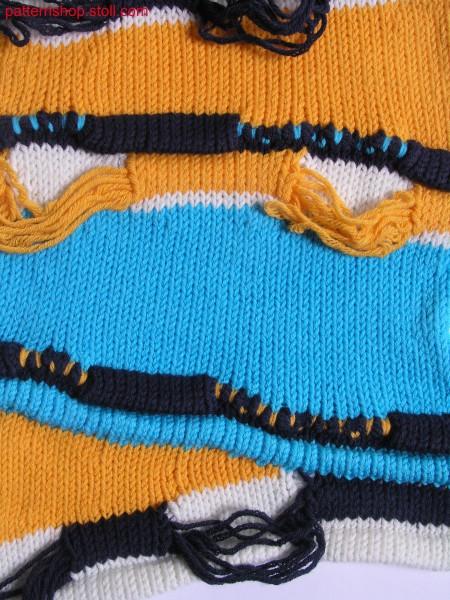 Gored, multi-coloured jersey swatch / Mehrfarbiger, gespickelter Rechts-Links Musterausschnitt
