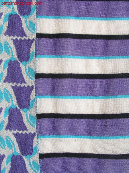 Intarsia swatch with hoops and 3-colour jacquard / Intarsia Musterausschnitt mit Ringeln und 3-farbigem Jacquard