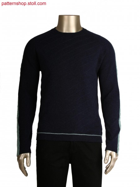 Fully fashion pullover with float lines, 6x6 cable as intarsia