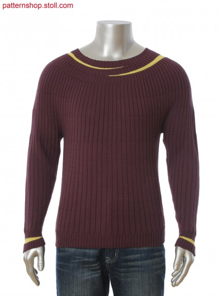 Stoll-knit and wear&reg 2-color pullover in rib structure with Fair Isle and gore technique