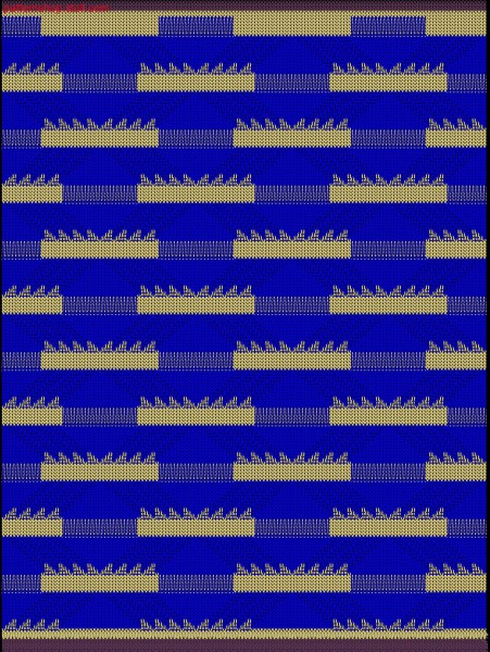 2-colour striped structure with floats and holding stitch/ Musterabschnitt mit Farb-und Strukturringeln