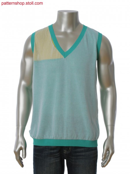 Fully Fashion intarsia sleeveless pullover in layer technique. Kintted in one piece.