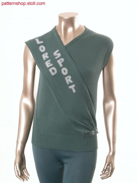 Sleeveless jersey pullover with side ribs /