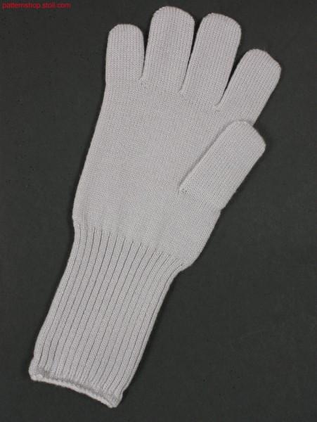 Jersey gloves with 2x2 rib wrist / Rechts-Links Handschuhemit Handgelenk in 2x2 Rippe