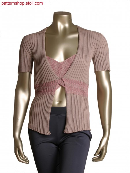 Fully Fashion short sleeve cardigan, all over rib structure, criss-cross float structure
