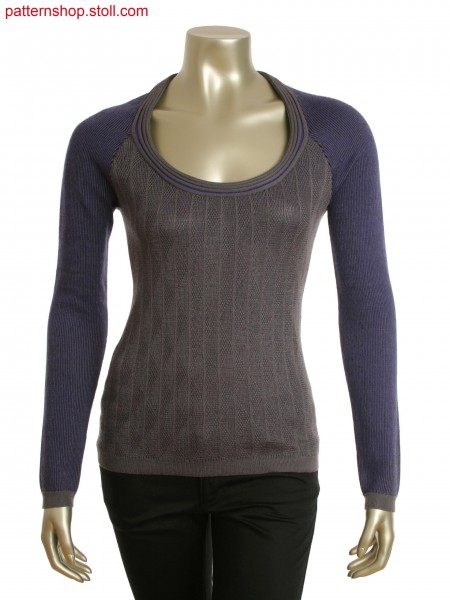 Fully Faschion deep round neck pullover in 3-color stripe jacquard and 1x1 cable