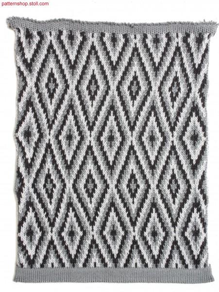 Multi-coloured jacquard fabric with float back side / Mehrfarbiges Jacquardgestrick mit Flottr